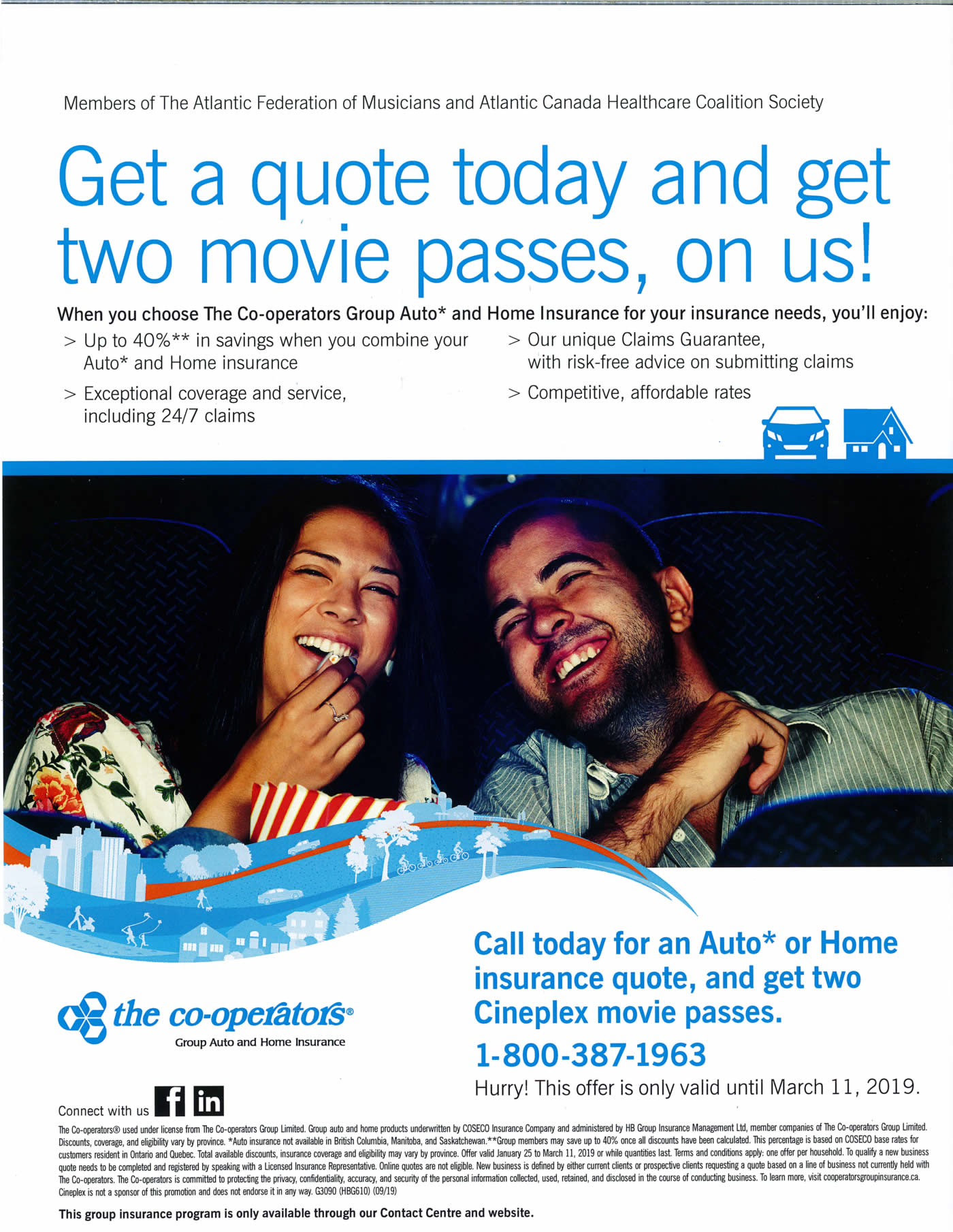 Get a quote and get two movie passes